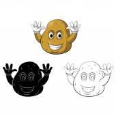 Coloring book Potato Smile cartoon character — Stock Vector