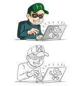 Hacker cartoon character — Stock Vector