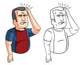 Cartoon man with headaches — Stock Vector