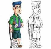 Cartoon injured man — Stock Vector
