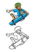 Coloring book SkateBoard cartoon character — Stock Vector