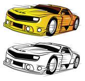 Coloring book Super Car cartoon character — Stock Vector
