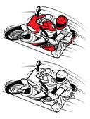 Coloring book Moto Sport cartoon character — Stock Vector
