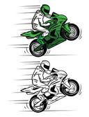 Coloring book Moto Race cartoon character — Stock Vector