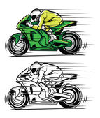 Coloring book Moto Race cartoon character — Vettoriale Stock