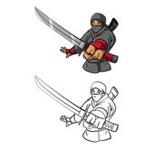 Coloring book Ninja cartoon character — Stock Vector