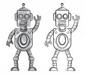 Coloring book Robot cartoon character — Vector de stock