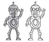 Coloring book Robot cartoon character — Vecteur