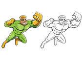 Coloring book Green Super Hero cartoon character — Stock Vector