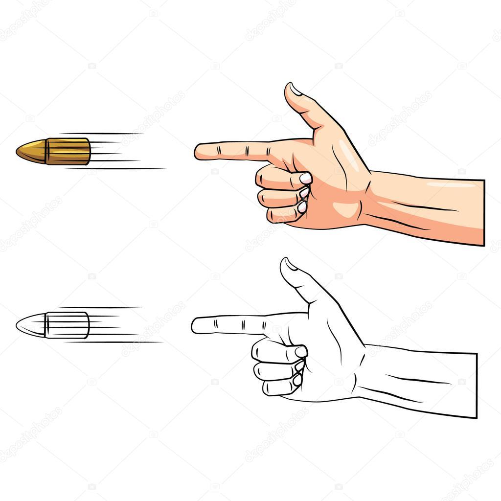 Personnage de dessin anim de main de pistolet livre colorier image vectorielle - Pistolet a colorier ...