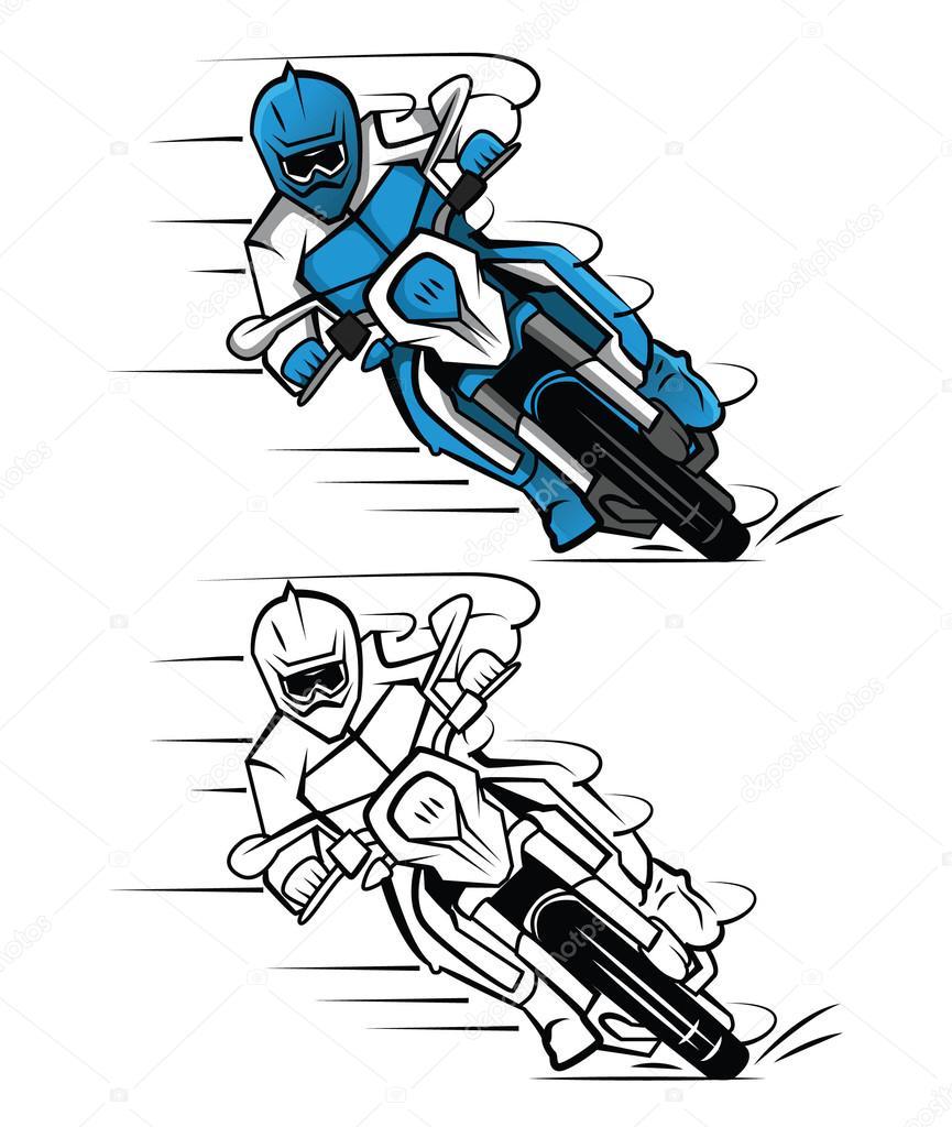 Coloriage livre moto cross personnage de dessin anim image vectorielle funwayillustration - Dessin de motocross ...
