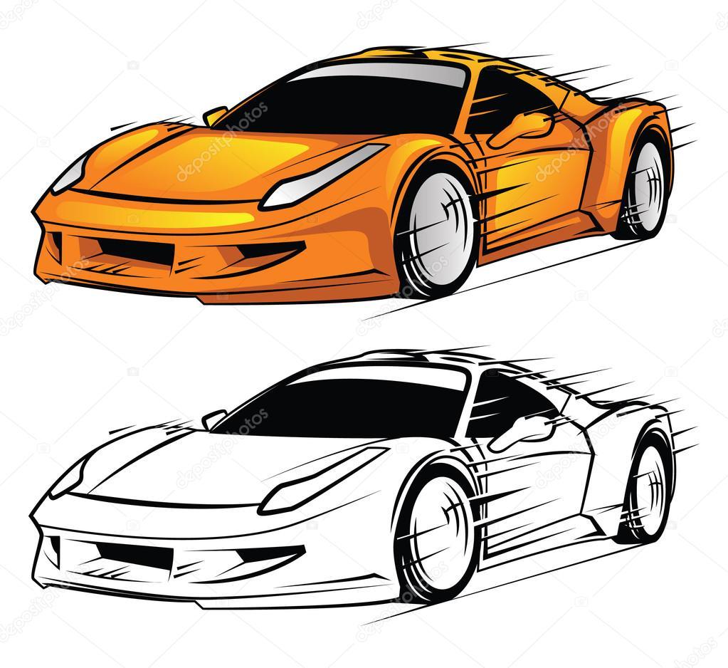 personnage de dessin anim de voiture de sport livre colorier image vectorielle. Black Bedroom Furniture Sets. Home Design Ideas