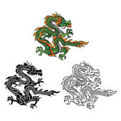 Personaje de dibujos animados de Vector de Dragon libro de colorear — Vector de stock