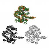 Coloring book Dragon Vector cartoon character — Stock Vector