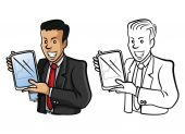Coloring book Businessman Presentation cartoon character — Stock Vector