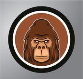 Gorilla Circle sticker — Stock Vector
