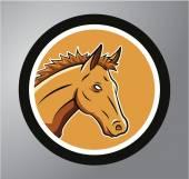 Horses Circle sticker — Stock Vector