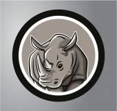 Rhinoceros Circle sticker — Stock Vector