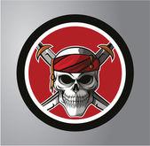 Skull Pirates Circle sticker — Stock Vector