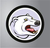 Polar bear  Circle sticker — Stock Vector