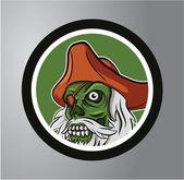 Pirates skull Circle sticker — Stock Vector