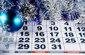 The eve of the new 2015 on the calendar, December 31, 2014   with blue silver Christmas decorations — Stock Photo