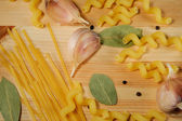 The set of products - pasta, spices, garlic — Stock Photo