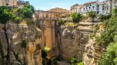 View of buildings over cliff in ronda, spain — Stockfoto