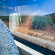 Enjoing the view of spanish nature from an high speed train — Stock Photo #56504771