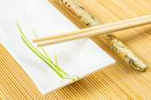 Sushi set on a bamboo placemat — Stock Photo