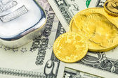 American dollar backed by gold and silver — Stock Photo