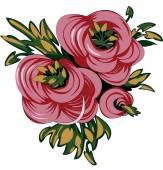 Tres rosas vector — Vector de stock