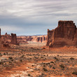 View to the Three Gossips and the Organ rocks, Arches National P — Stock Photo #55983045