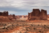 View to the Three Gossips and the Organ rocks, Arches National P — Stock Photo