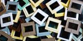 Background of old plastic 35mm film slides — Foto de Stock