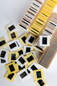 Photo archive of 35mm film slides from above — Stock Photo
