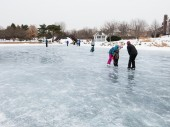Ice skate rink on a frozen lake — Stock Photo