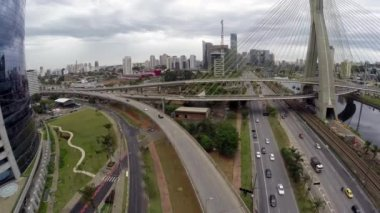 Aerial View from Octavio Frias Bridge (Also Known As Ponte Estaiada) in Sao Paulo, Brazil — ストックビデオ