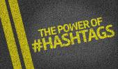 The Power Of Hashtags written on the road — Stockfoto