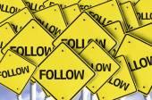 Follow written on multiple road sign — Stock Photo