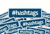 Hashtags written on multiple blue road sign — Photo