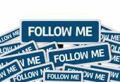 Follow Me written on multiple blue road sign — Stock Photo