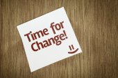 Time For Change on Paper Note on sky background — Stock Photo