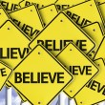 Believe written on multiple road sign — Stock Photo #54394509