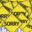 Sorry written on multiple road sign — Stock Photo #54397313