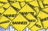 Banned! written on multiple road sign — Stock Photo