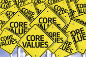 Core Values written on multiple road sign — Stock Photo