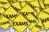 Exams written on multiple road sign — Stock Photo