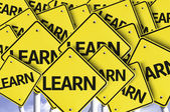 Learn written on multiple road sign — Foto de Stock