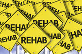 Rehab written on multiple road sign — Foto Stock